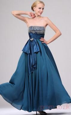 Ink Blue 100D Chiffon A-line Strapless Long Evening Dress-(BD04-454)
