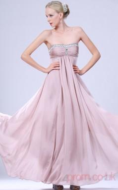 Lavender 100D Chiffon A-line Strapless Long Evening Dress-(BD04-467)