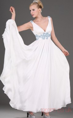 White 100D Chiffon A-line One Shoulder Long Evening Dress-(BD04-470)