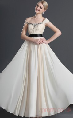 Ivory 100D Chiffon A-line One Shoulder Long Evening Dress-(BD04-472)