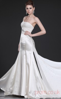 Ivory Stretch Satin Sheath/Column One Shoulder Floor-length Prom Dress(BD04-473)
