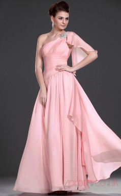 Pink 100D Chiffon A-line One Shoulder Floor-length Prom Dress(BD04-478)