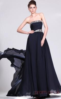 Ink Blue 100D Chiffon A-line Strapless Long Evening Dress-(BD04-481)