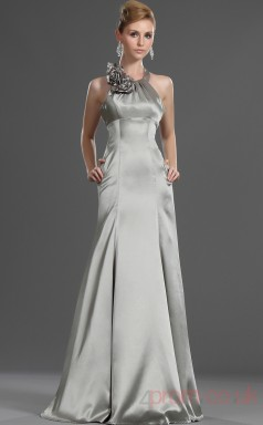 Silver 100D Chiffon Sheath/Column Halter Floor-length Prom Dress(BD04-488)