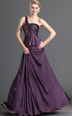 Grape Velvet Chiffon A-line One Shoulder Long Evening Dress-(BD04-491)