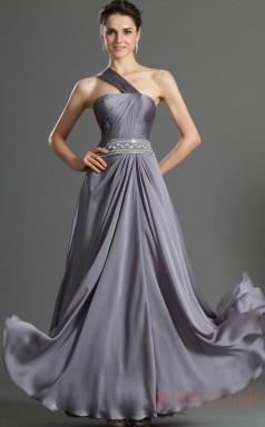 Silver 100D Chiffon A-line One Shoulder Floor-length Prom Dress(BD04-492)