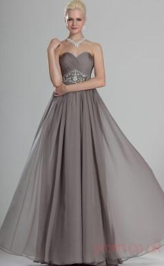 Silver 100D Chiffon A-line Strapless Sweetheart Floor-length Prom Dress(BD04-494)
