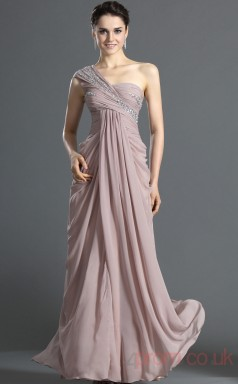 Lavender 100D Chiffon Sheath/Column One Shoulder Floor-length Prom Dress(BD04-496)