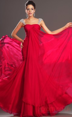 Red 100D Chiffon Trumpet/Mermaid Off The Shoulder Sweetheart Floor-length Prom Dress(BD04-513)