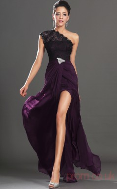 Grape 100D Chiffon Trumpet/Mermaid One Shoulder Floor-length Prom Dress(BD04-514)