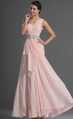 Pink 100D Chiffon A-line One Shoulder Long Evening Dress-(BD04-517)