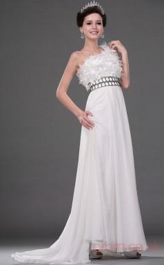 Ivory 100D Chiffon A-line One Shoulder Floor-length Prom Dress(BD04-524)