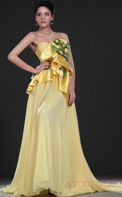 Yellow 100D Chiffon A-line Strapless Sweetheart Floor-length Prom Dress(BD04-525)