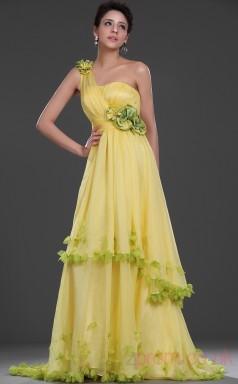 Yellow 100D Chiffon A-line One Shoulder Floor-length Prom Dress(BD04-527)