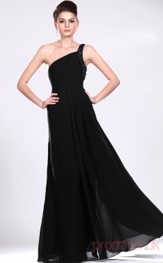 Black 100D Chiffon A-line One Shoulder Long Evening Dress-(BD04-534)