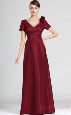 Burgundy 100D Chiffon A-line V-neck Long Evening Dress-(BD04-543)