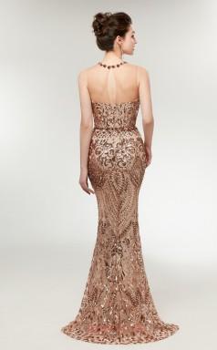 Mermaid Bronze Sequined Illusion Long Prom Dresses XH-C0012