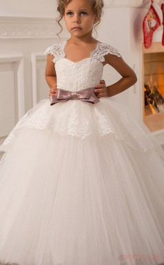 Ball Gown Short Sleeve Kids Prom Dress for Girls CH0105