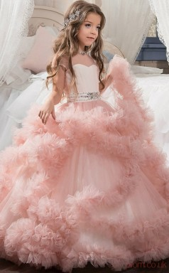 Cute Ball Gown Short Sleeve Kids Prom Dress for Girls CH0106