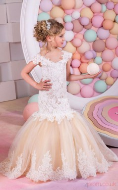 Trumpet/Mermaid Short Sleeve Kids Prom Dress for Girls CH0117