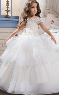 Ball Gown Short Sleeve Kids Prom Dress for Girls With Ruffles Lace Appliques CH0134