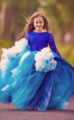Ball Gown Jewel Blue Kids Girls Dress CH0153