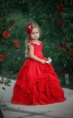 Ball Gown Jewel Red Kids Girls Dress CH0154