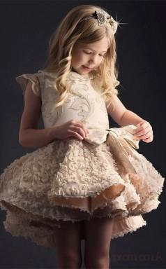 A-line Jewel Champagne Kids Girls Dress CH0155