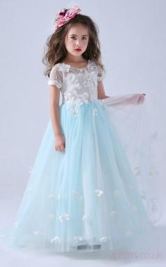 A-line Jewel Sky Blue Kids Girls Dress CH0156