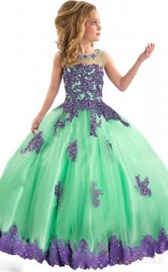 Ball Gown Illusion Green Kids Girls Dress CH0160
