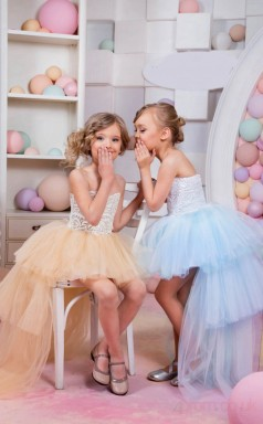 A-line Sweetheart Champagne Kids Girls Dress CH0162