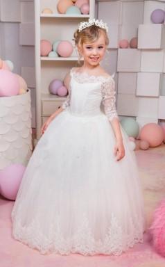 Princess One Shoulder White Kids Girls Dress CH0163