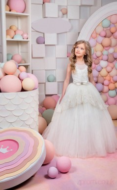 Ball Gown Illusion Ivory Kids Girls Dress CH0165