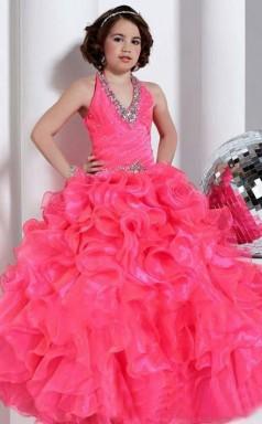 Ball Gown V-neck Watermelon Kids Girls Dress CH0166