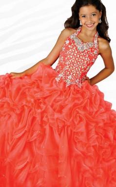 Ball Gown Halter Tomato Red Kids Girls Dress CH0169