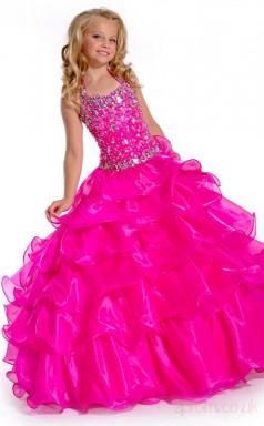 Ball Gown Halter Magenta Red Kids Girls Dress CH0170