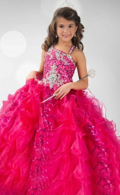 Ball Gown Jewel Red Kids Girls Dress CH0172