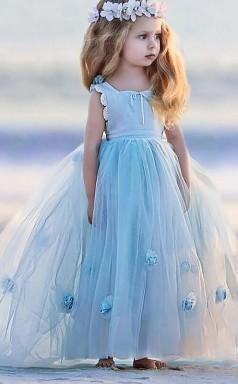 Ball Gown Jewel Sky Blue Kids Girls Dress CH0174