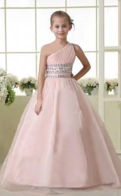 A-line One Shoulder Blushing Pink Kids Girls Dress CH0175