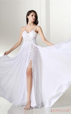 Ivory Lace Chiffon Sheath/Column Straps Sleeveless Evening Dresses(JT4-CZMC112)