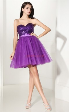 Dark Lilac Tulle Sequined Princess Sweetheart Sleeveless Cocktail Dress(JT4-CZMD132)