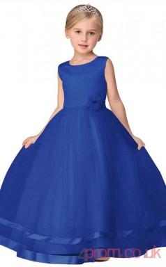 Blue Satin,Tulle Princess Jewel Floor-length Children's Prom Dresses(FGD237)