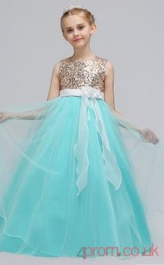 Light Blue Sequinsed,Tulle Princess Jewel Floor-length Children's Prom Dresses(FGD239)