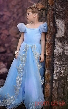 Sky Blue Organza Princess Off The Shoulder Short Sleeve Floor-length Children's Prom Dresses(FGD241)