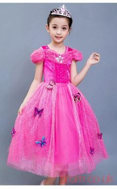 Fuchsia Tulle,Lace Princess Off The Shoulder Short Sleeve Tea-length Children's Prom Dresses(FGD244)