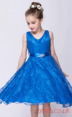 Blue Lace Princess Jewel Knee-length Children's Prom Dresses(FGD252)