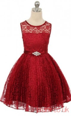 Burgundy Lace Princess Jewel Knee-length Children's Prom Dresses(FGD259)