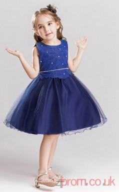 Navy Blue Lace,Tulle Princess Jewel Knee-length Children's Prom Dresses(FGD260)