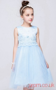 Sky Blue Lace,Organza A-line Jewel Knee-length Children's Prom Dresses(FGD262)
