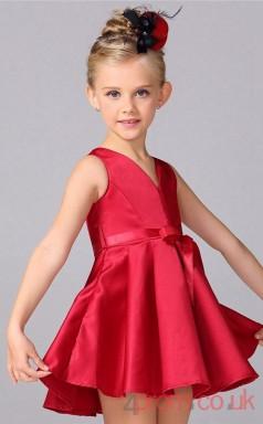 Burgundy Satin A-line V-neck Short/Mini Children's Prom Dresses(FGD269)